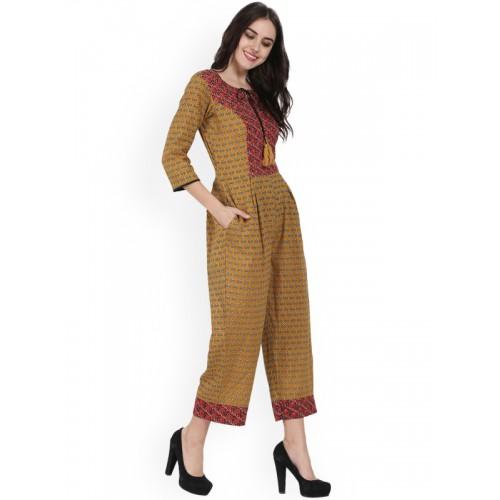 88fed6768c94 Buy Nayo Yellow Printed Capri Jumpsuit online