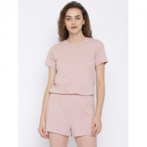 FOREVER 21 Pink Solid Playsuit