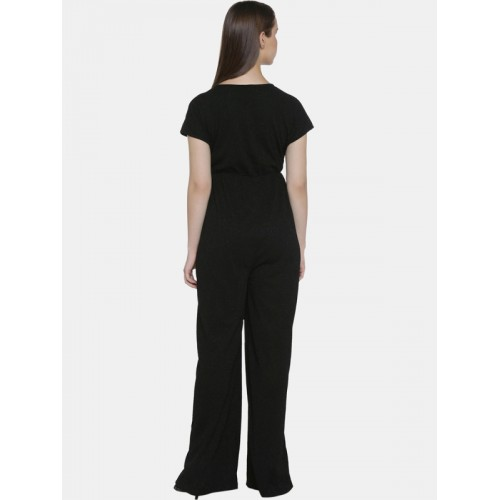 a066270f623 Buy Annabelle by Pantaloons Black Self Design Basic Jumpsuit online ...