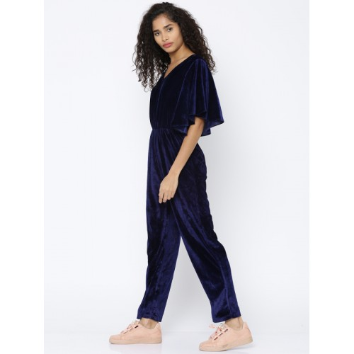Besiva Navy Blue Solid Basic Jumpsuit