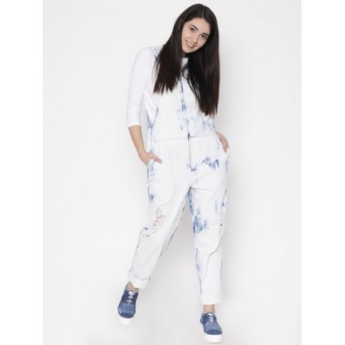 FOREVER 21 White & Blue Washed Basic Jumpsuit