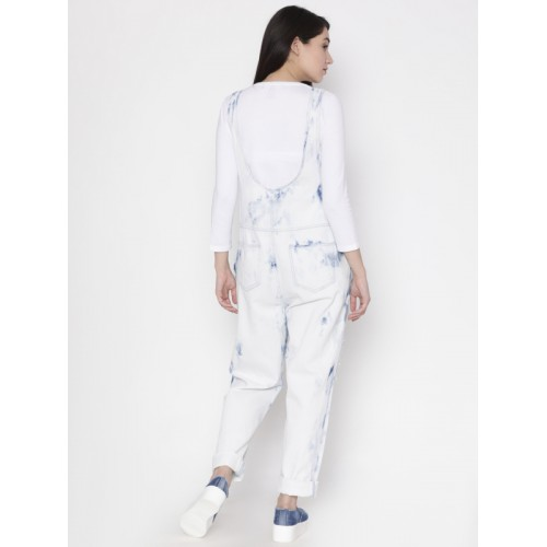 FOREVER 21 White & Blue Washed Basic Jumpsuit