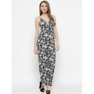 FOREVER 21 Black & White Floral Print Basic Jumpsuit