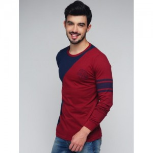 Difference of Opinion Men Maroon & Navy Colourblocked Round Neck T-shirt