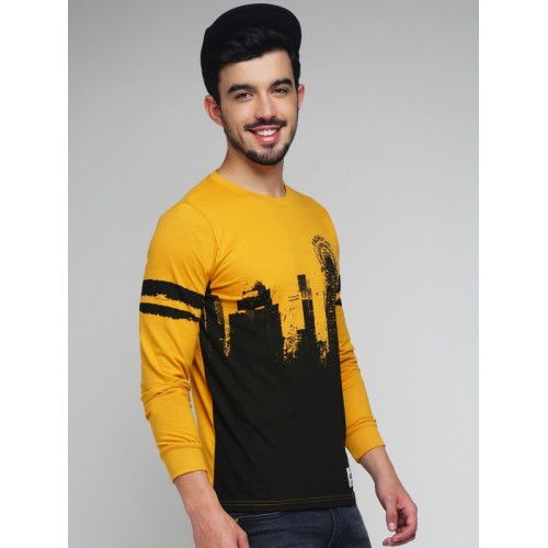 Difference of Opinion Mustard Yellow & Black Printed T-shirt