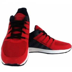 SEGA Red & Black Mesh Techno Running Shoes