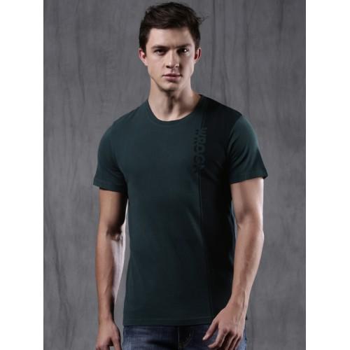 WROGN Men Blue Solid Round Neck T-shirt