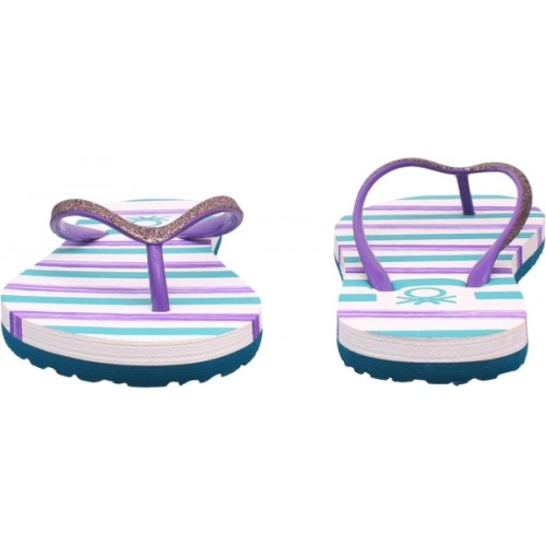 United Colors of Benetton Purple & White EVA Flip Flops