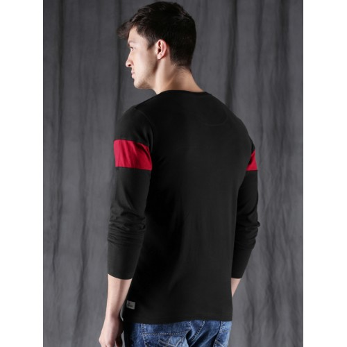 WROGN Men Black Colourblocked Henley Neck T-shirt