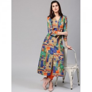 Aks Multicoloured Cotton Printed A-Line Kurta