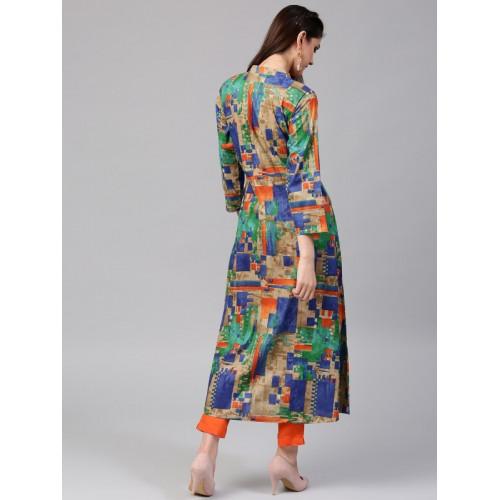 Aks Multicoloured Cotton Printed A-Line Kurta