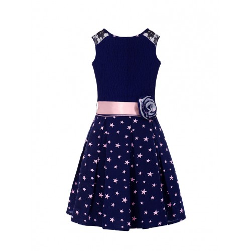 Naughty Ninos Navy Blue Polyester Frock