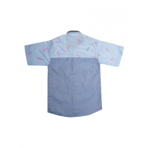 Blue Cotton Blend Shirt By Lilpicks