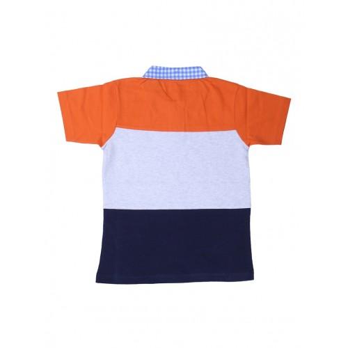 Orange, Blue And Grey Cotton T-Shirt By Little Studio