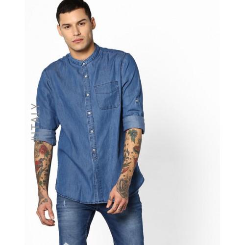 taglia 40 398dc 788e8 Buy ALCOTT Denim Shirt with Mandarin Collar online   Looksgud.in