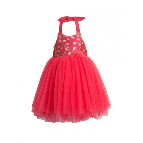 Buy Toy Balloon Kids Red Net Party Gown online | Looksgud.in