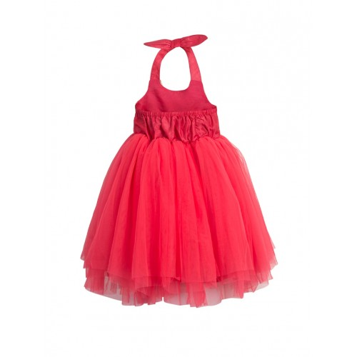 Toy Balloon Kids Red Net Party Gown