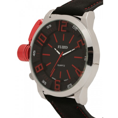 FLUID Men Black Analogue Watch FL-153-BK-RD