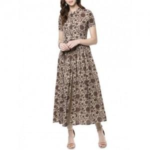 Indian Virasat Brown Cotton Printed Flared kurta