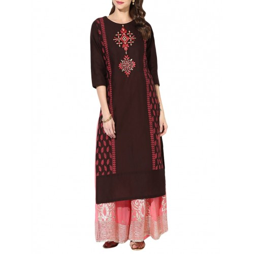 brown cotton Printed straight kurta