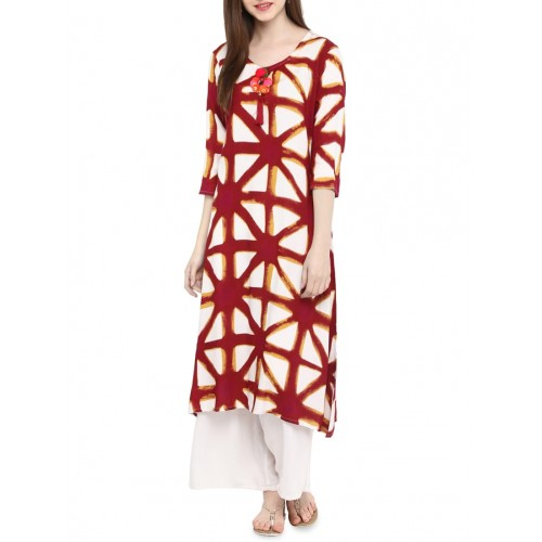 red viscose aline kurta
