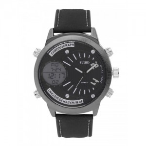 FLUID Men Black Multifunction Analogue & Digital Watch FL-1225