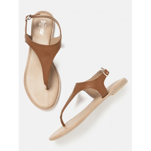 6ce6ed395 Buy Roadster Women Brown Solid Synthetic T-Strap Flats online ...