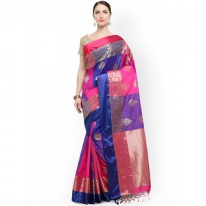 Varkala Silk Sarees Blue & Pink Silk Blend Colourblocked Kanjeevaram Saree