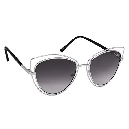 Silver Kartz Black Gradient Double-Link Aviator Cat eye Sunglasses (wy217)