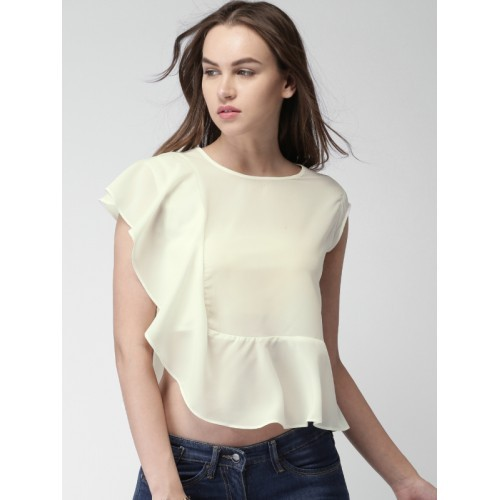 Mast & Harbour Women Off-White Solid Crop Top