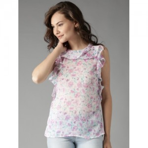 Moda Rapido Women White Semi-Sheer Floral Print Top