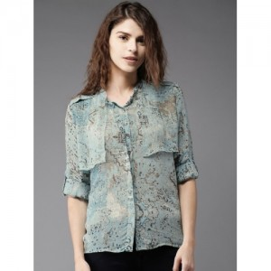 Moda Rapido Women Turquoise Blue Printed Shirt Style Top