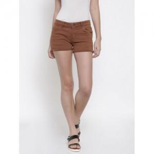 People Brown Cotton Denim Solid Hot Pants
