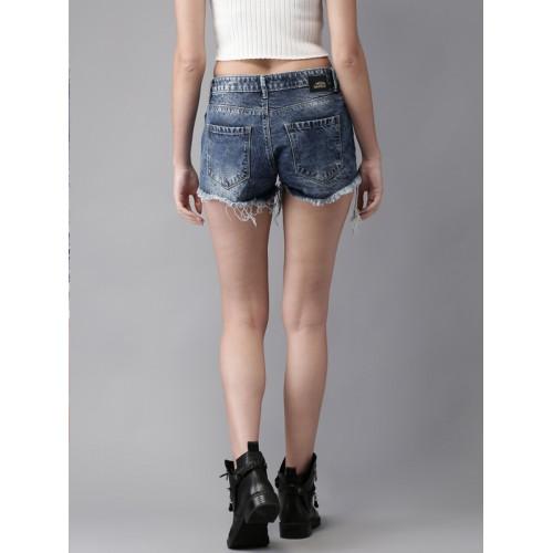 Moda Rapido Women Blue Washed Regular Fit Denim Shorts