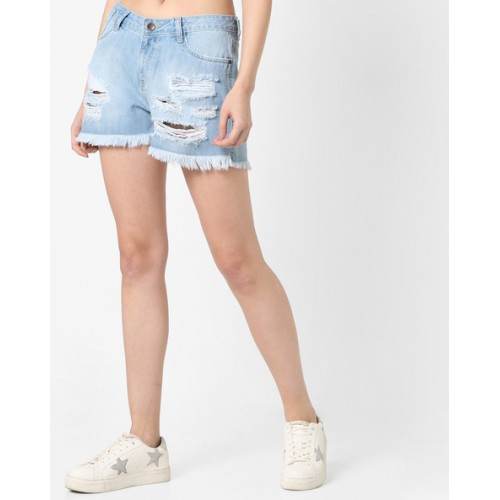 AJIO Blue High-Waist Distressed Denim Shorts