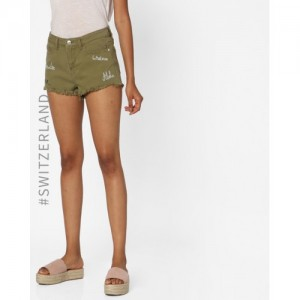 TALLY WEiJL Green Hot Pants with Frayed Hems