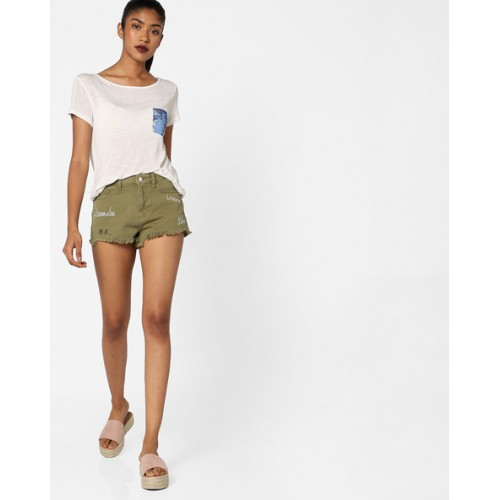 TALLY WEiJL Green Hot Pants with Frayed Hems