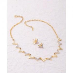 Voylla Nakshatra Dainty Gold Plated Cz Necklace Set