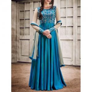 sky blue silk flared semi-stitched suit