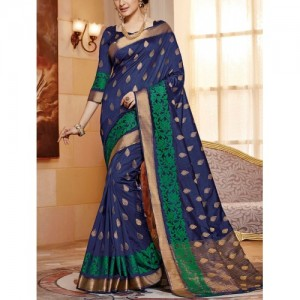 Blue Raw Silk Woven Saree By The Fashion Attire