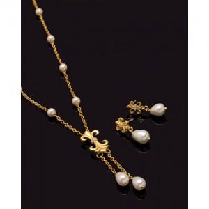 Voylla Baroque Pearl French Lily Motif Necklace Set