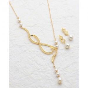 Voylla Baroque Pearl Twisted Necklace Set