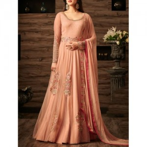 Peach Flared Semi-Stitched Suit By The Fashion Attire