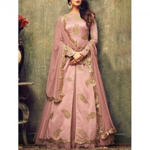 Pink Silk Semi-Stitched Skirt Suit By The Fashion Attire