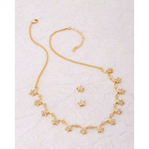 Voylla White Cz Floral Necklace Set From Blossoms Cz