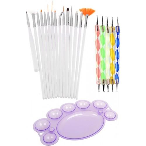 Lifestyle-You Combo of 15 Pcs Nail Art Brush Set and 5 Pcs Nail Dotting tools plus free Nail Paint Mixing Palette