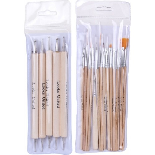 Looks United Pack Of 15 Nail Art Brushes And 5 Two Way Dotting Tools Wood Color