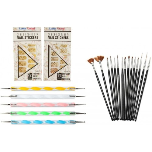 Looks United 15 Nail Art Brushes, 5 Dotting Tools And 2 Golden Pre-Designed Sticker Sheets ( Pack of 22 )