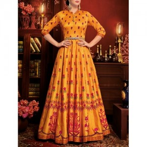 Yellow Flared Semi-Stitched Suit By The Fashion Attire