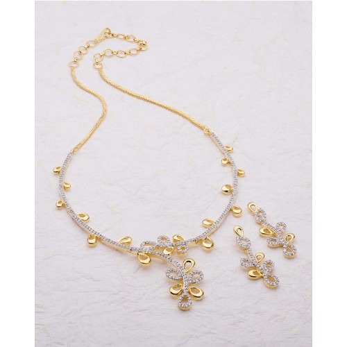 Voylla Splendid Yellow Gold Plated Necklace Set